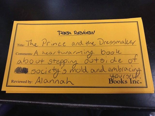 Teen Review of The Prince and the Dressmaker