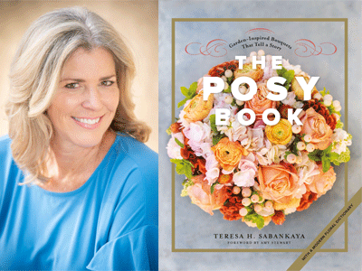 Teresa Sabankaya author photo and The Posy Book cover image