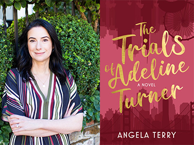 Angela Terry author photo and The Trials of Adeline Turner cover image