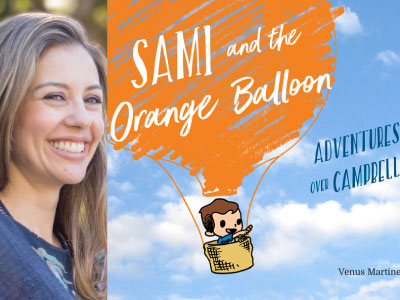 Venus Martinez Sharp author photo and Sami and the Orange Balloon cover image
