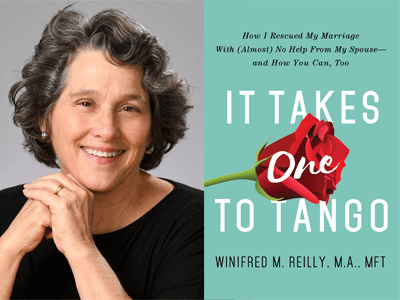 Winifred Riley author photo and It Takes One to Tango cover image
