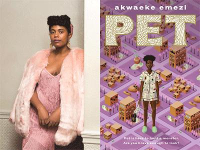Akwaeke Emezi author photo and Pet cover image