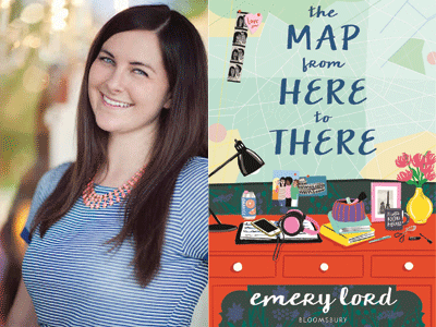 Emery Lord author photo and The Map from Here to There cover image