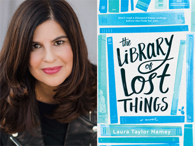 Laura Taylor Namey author photo and The Library of Lost Things cover image
