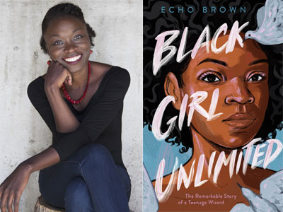 Echo Brown author photo and Black Girl Unlimited cover image