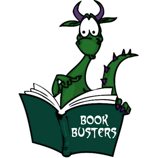 Book Busters dragon reading book