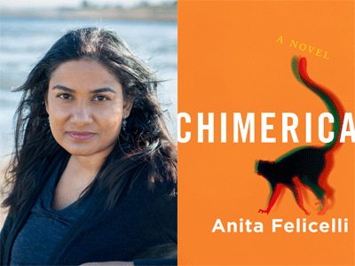 Anita Felicelli author photo and Chimerica cover image