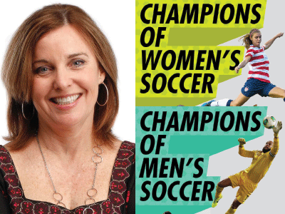 Ann Killion author photo and cropped cover image for Champions of Soccer