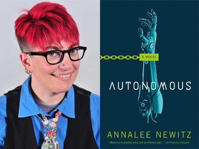 Annalee Newitz author photo and Autonomous cover image