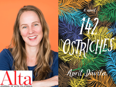April Davila author photo and 142 Ostriches cover image