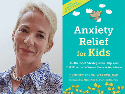 Dr. Bridget Flynn Walker author photo and Anxiety Relief for Kids cover image