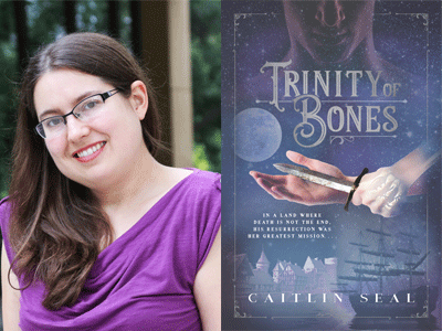 Caitlin Seal author photo and Trinity of Bones cover image