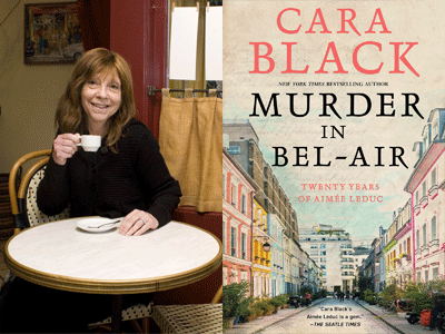 Cara Black author photo and Murderi n Bel-Air cover image