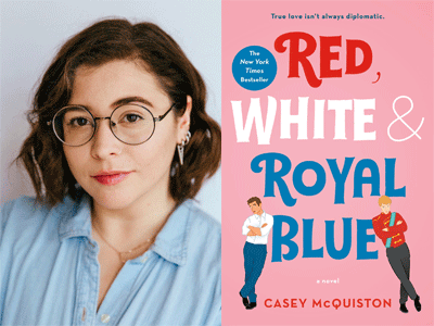 Casey McQuiston author photo and Red, White & Royal Blue cover image