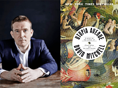 David Mitchell author photo and Utopia Avenue cover image