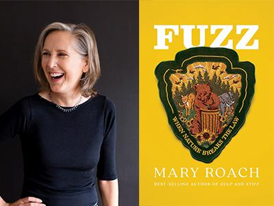 Mary Roach author photo and Fuzz cover image