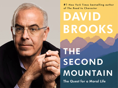David Brooks author photo and The Second Mountain cover image