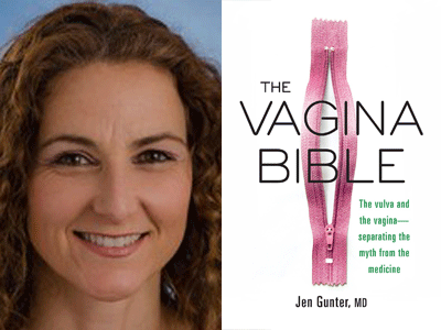 Dr. Jen Gunter author photo and The Vagina Bible cover image