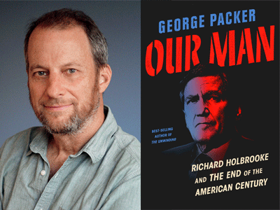 George Packer author photo and Our Man cover image