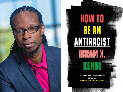 Ibram X. Kendi author photo and How To Be An Antiracist cover image