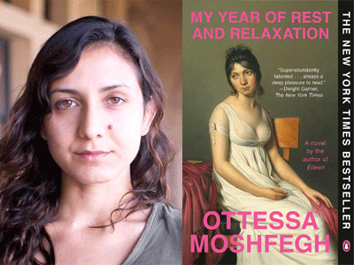 Ottessa Moshfegh author photo and My Year of Rest and Relaxation cover image