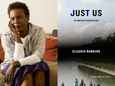 Claudia Rankine author photo and Just Us cover image