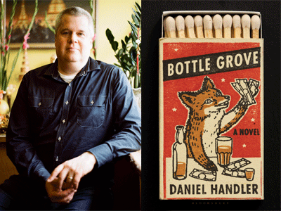 Daniel Handler author photo and Bottle Grove cover image