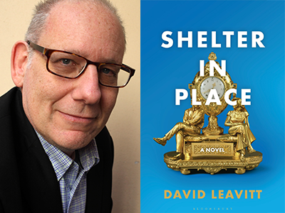 David Leavitt author photo and Shelter in Place cover image
