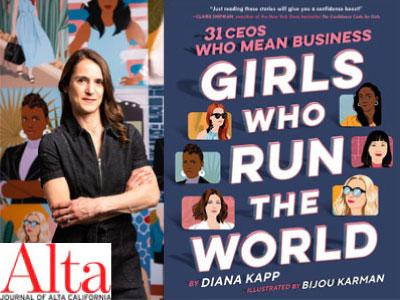 Diana Kapp author photo and Girls Who Run the World cover image