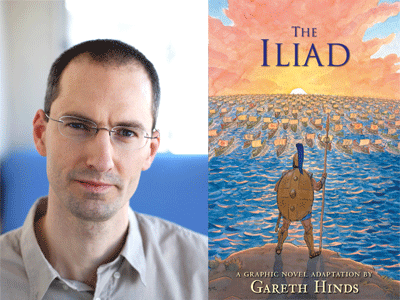 Gareth Hinds author photo and The Iliad cover image