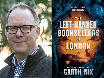 Garth Nix author photo and The Left-Handed Booksellers of London cover image