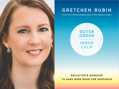 Gretchen Rubin author photo and Outer Order Inner Calm cover image