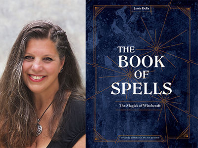 Jamie Della author photo and The Book of Spells cover image