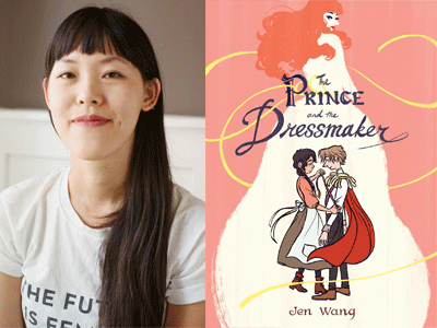 Jen Wang author photo and The Prince and the Dressmaker cover image