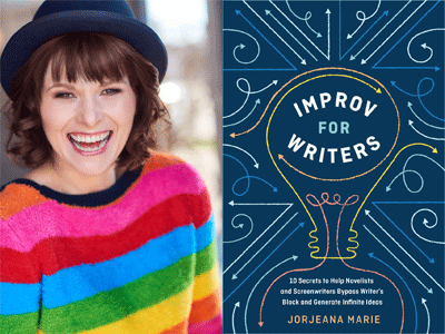Jorjeana Marie author photo and Improv for Writers cover image