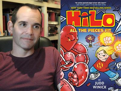 Judd Winick author photo and Hilo cover image