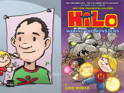 Illustration of Judd Winick and HiLo #4 cover image