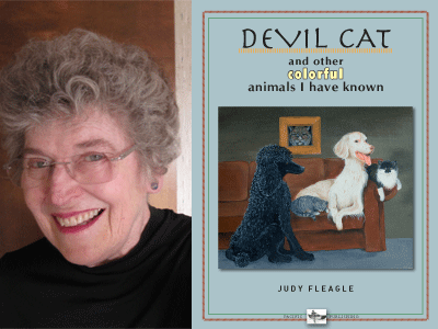 Judy Fleagle author photo and Devil Cat cover image