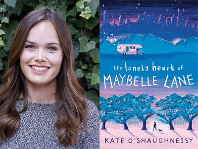 Kate O'Shaughnessy author photo and The Lonely Heart of Maybelle Lane cover image