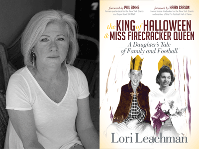 Lori Leachman author photo and The King of Halloween and Miss Firecracker Queen cover image