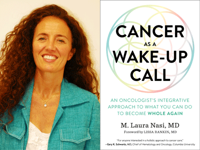 M. Laura Nasi author photo and Cancer as a Wake-Up Call cover image