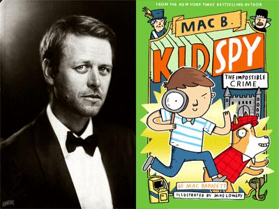 Mac Barnett author photo and Kid Spy #2 cover image