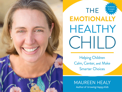 Maureen Healy author photo and The Emotionally Healthy Child cover image