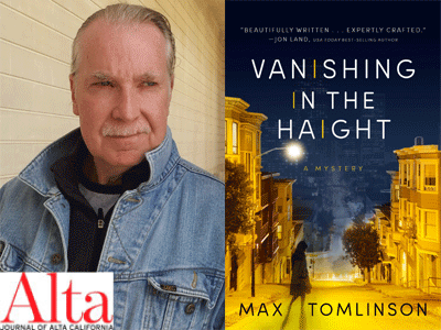 Max Tomlinson author photo and Vanishing in the Haight cover image