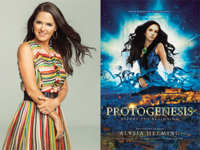 Alysia Helming author photo and Protogenesis cover image
