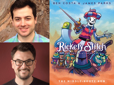 Ben Costa and James Parks author photos and Rickety Stitch #2 cover image