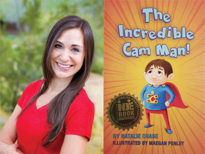 Natalie Chase author photo and The Incredible Cam Man cover image