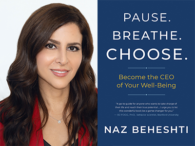 Naz Behesti author photo and Pause Breathe Choose cover