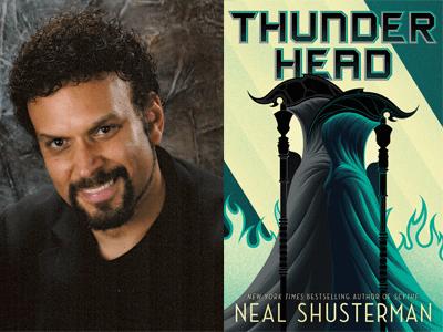 Neal Shusterman author photo and Thunderhead cover image