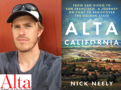 Nick Neely author photo and Alta California cover image